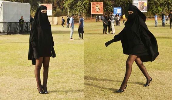 فتاة منقبة بساقين عاريتين تثير الجدل في الدار البيضاء